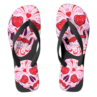 Heart Sugar Skull Black Flip Flops