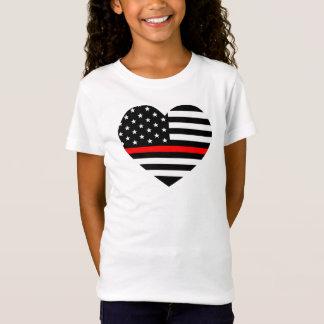 Heart Support Firefighter Flag T-Shirt