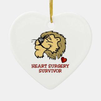 Heart Surgery Survivor Lion Ceramic Heart Ornament
