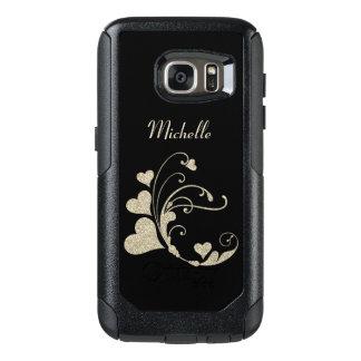 Heart Swirl Black Gold Faux Glitter OtterBox Samsung Galaxy S7 Case