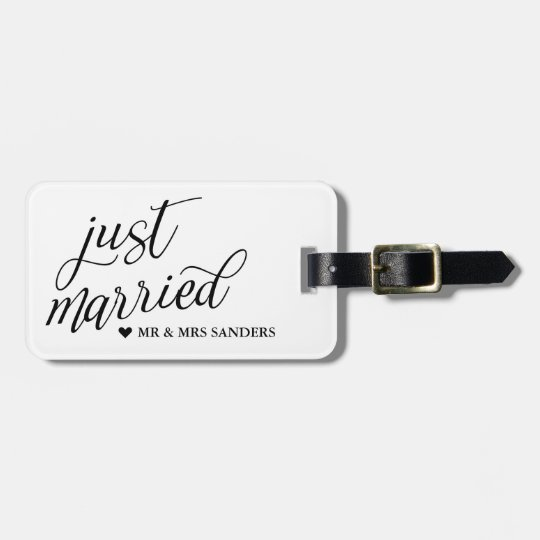 Heart & Swirly Script Just Married Luggage Tag