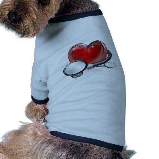 Heart symbol and stethoscope dog clothing