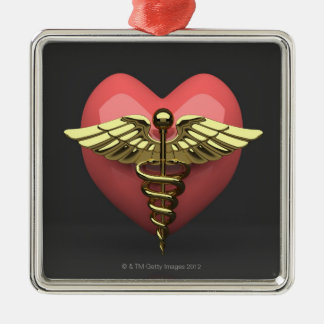 Heart symbol with medical symbol (caduceus) Silver-Colored square ornament