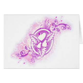Heart Tattoo with Flowers (purple) Greeting Card