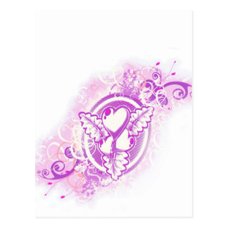 Heart Tattoo with Flowers (purple) Postcard