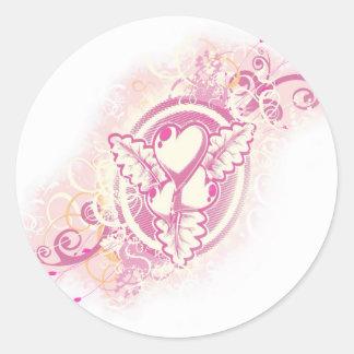 Heart Tattoo with Flowers Round Sticker
