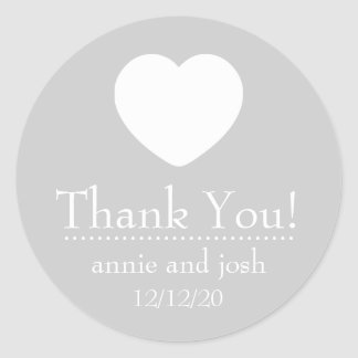 Heart Thank You Labels (Silver) Round Sticker