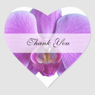 Heart Thank You Stickers  --  Purple Orchid