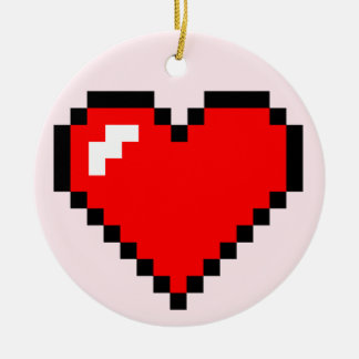 Heart Thief 8 Bit Pixel Art - Funny Geeky Gamer Ceramic Ornament