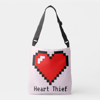 Heart Thief 8 Bit Pixel Art - Funny Geeky Gamer Crossbody Bag