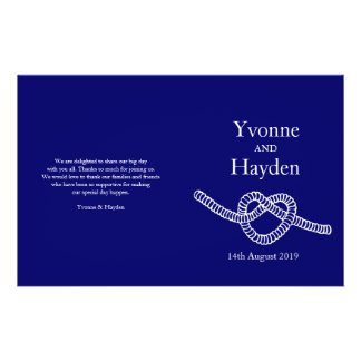 Heart tie the knot dark blue wedding programs