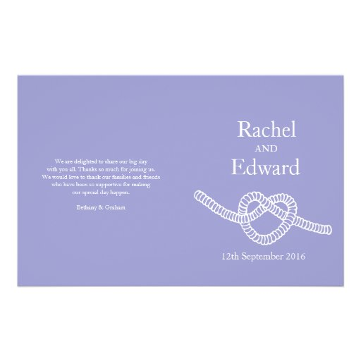 Heart tie the knot purple wedding programs full color flyer