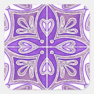 Heart Tiles Inspired Portuguese Azulejos Lavender Square Sticker