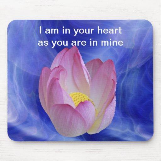 Heart to heart lotus flower mousepads