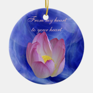 Heart to heart lotus flower round ceramic ornament