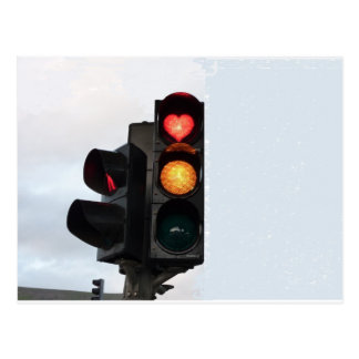 Heart traffic light postcard