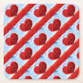 Heart Tree Valentine Square Paper Coaster