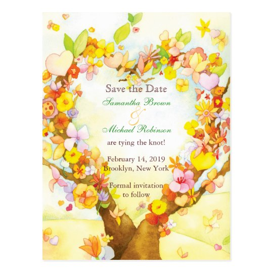 Heart Tree Watercolor Save the Date Postcards