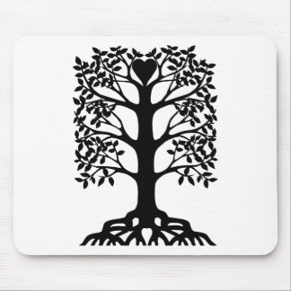 Heart Tree With Roots Mouse Pad