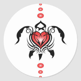 Heart-turtle Classic Round Sticker
