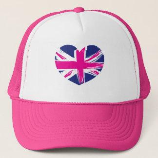 Heart Union Jack Flag Cap/Hat Trucker Hat