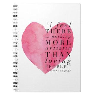 Heart Van Gogh Quote Notebook