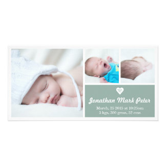 Heart Vintage Green Birth Announcement Photo Card