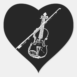 Heart Violin Sticker - Distorted/Eroded - B/W
