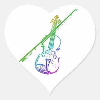 Heart Violin Sticker - Distorted/Eroded - Rainbow