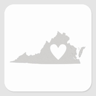 Heart Virginia state silhouette Square Sticker