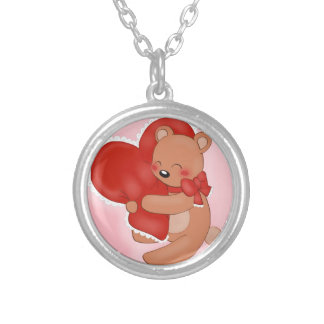 Heart Warming Teddybear Silver Plated Necklace