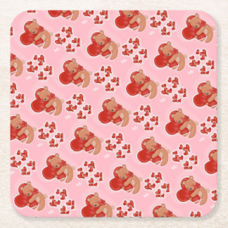 Heart Warming Teddybear Square Paper Coaster