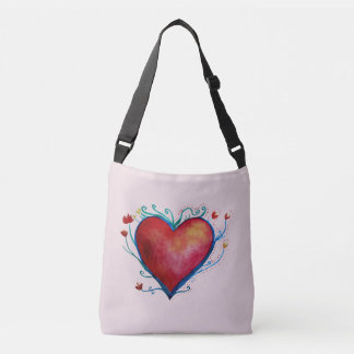 Heart WatercolCustom All-Over-Print Cross Body Bag