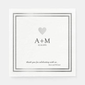 heart wedding celebration B/W reception Paper Napkin