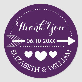 Heart Wedding + Dark Purple Thanks + Arrow Motif Round Sticker
