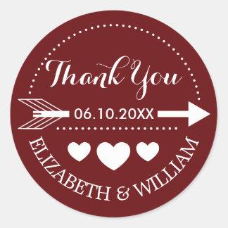 Heart Wedding Deep Red Thank You + Arrow Motif Classic Round Sticker