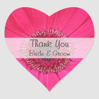 Heart Wedding Thank You Stickers --  Pink Gerbera