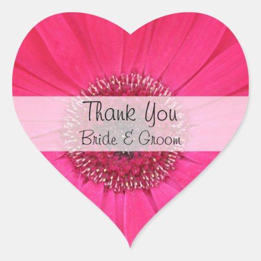 Heart Wedding Thank You Stickers --  Pink Gerbera