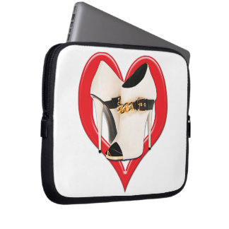 Heart White Leather Boots with Gold Chain Laptop Sleeve