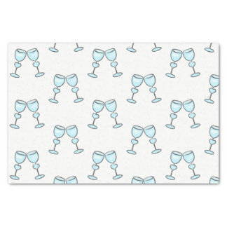 Heart Wine Glasses Blue Whimsical Wedding Tissue Paper