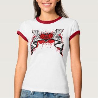 Heart Wings Ladies Ringer T-Shirt