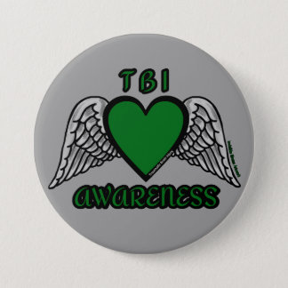 Heart/Wings...TBI 3 Inch Round Button
