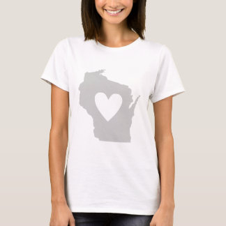 Heart Wisconsin state silhouette T-Shirt