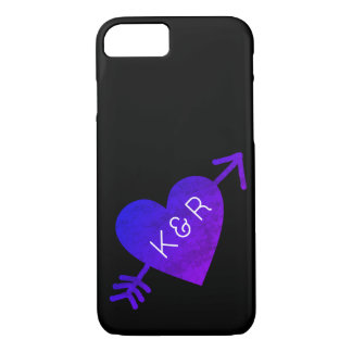 heart with arrow, with couple initials, romantic iPhone 7 case