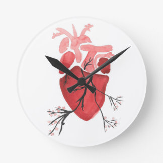 Heart With Branches Round Clock