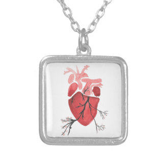 Heart With Branches Silver Plated Necklace