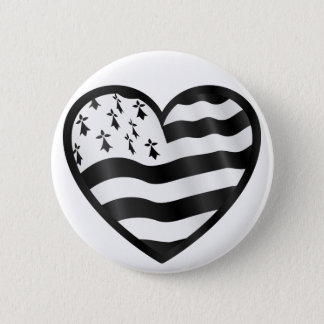 Heart with Bretin flag inside 2 Inch Round Button