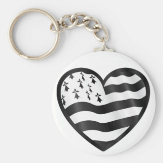 Heart with Bretin flag inside Keychain