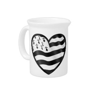 Heart with Bretin flag inside Pitcher