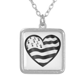 Heart with Bretin flag inside Silver Plated Necklace